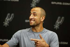 Manu Ginobili address the media at the Press Conference at Spurs practice facility on Saturday, September 15, 2018.