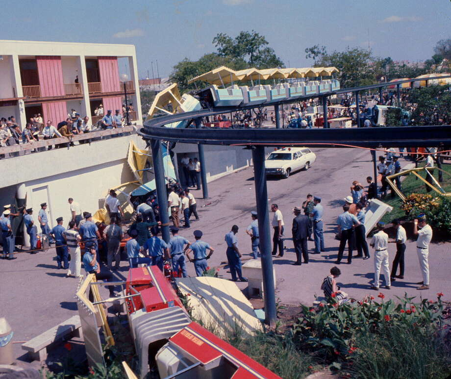 The scene of the fatal monorail derailment that marred festivities during the HemisFair 1968 World's Fair. Photo: Photo By Bob Weston