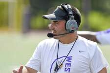 In his first year as Head coach, Westhill's Joe DeVellis walks the sidelines in a FCIAC football game against Norwalk on Saturday, Sept. 15, 2018 in Stamford, Connecticut. Norwalk defeated Westhill 48-21 in the Vikings home opener at J.Walter Kennedy Stadium.
