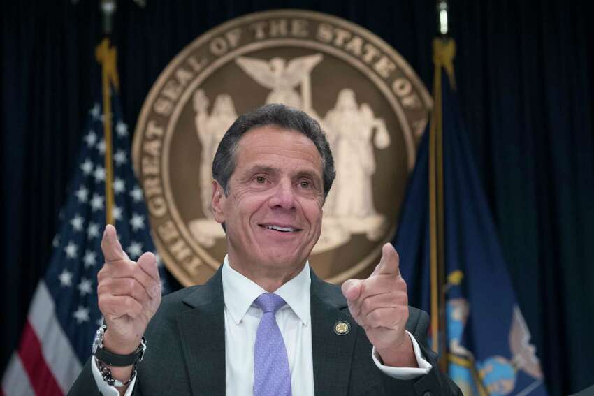 New York Gov. Andrew Cuomo speaks to reporters during a news conference, Friday, Sept. 14, 2018, in New York. After a night of unusual silence, Cuomo made his first public remarks following his victory in Thursday's Democratic primary, appearing at his office in Manhattan to talk about hurricane readiness and President Donald Trump ?- and, after prodding by reporters, his big win over Cynthia Nixon.(AP Photo/Mary Altaffer)