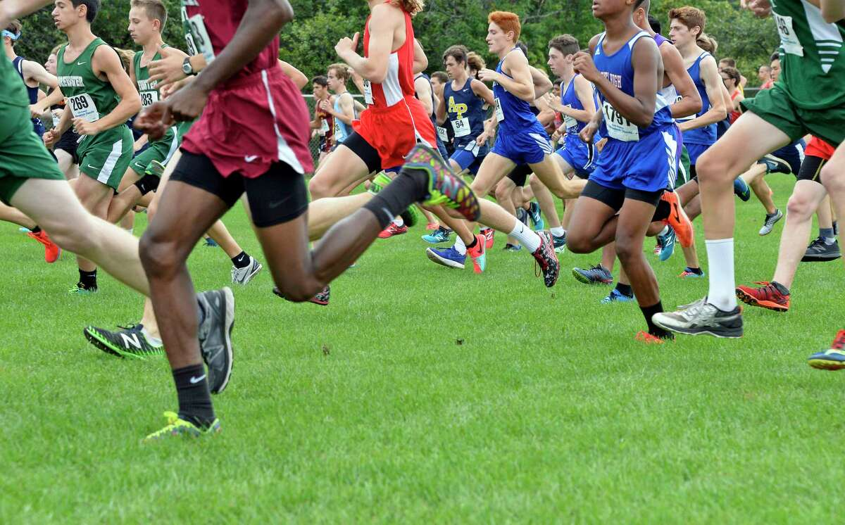 Runners at the start of the Division I boys race at the 15th annual Adirondack Classic Invitational Saturday Sept. 15, 2018 in Queensbury, NY. (John Carl D'Annibale/Times Union)