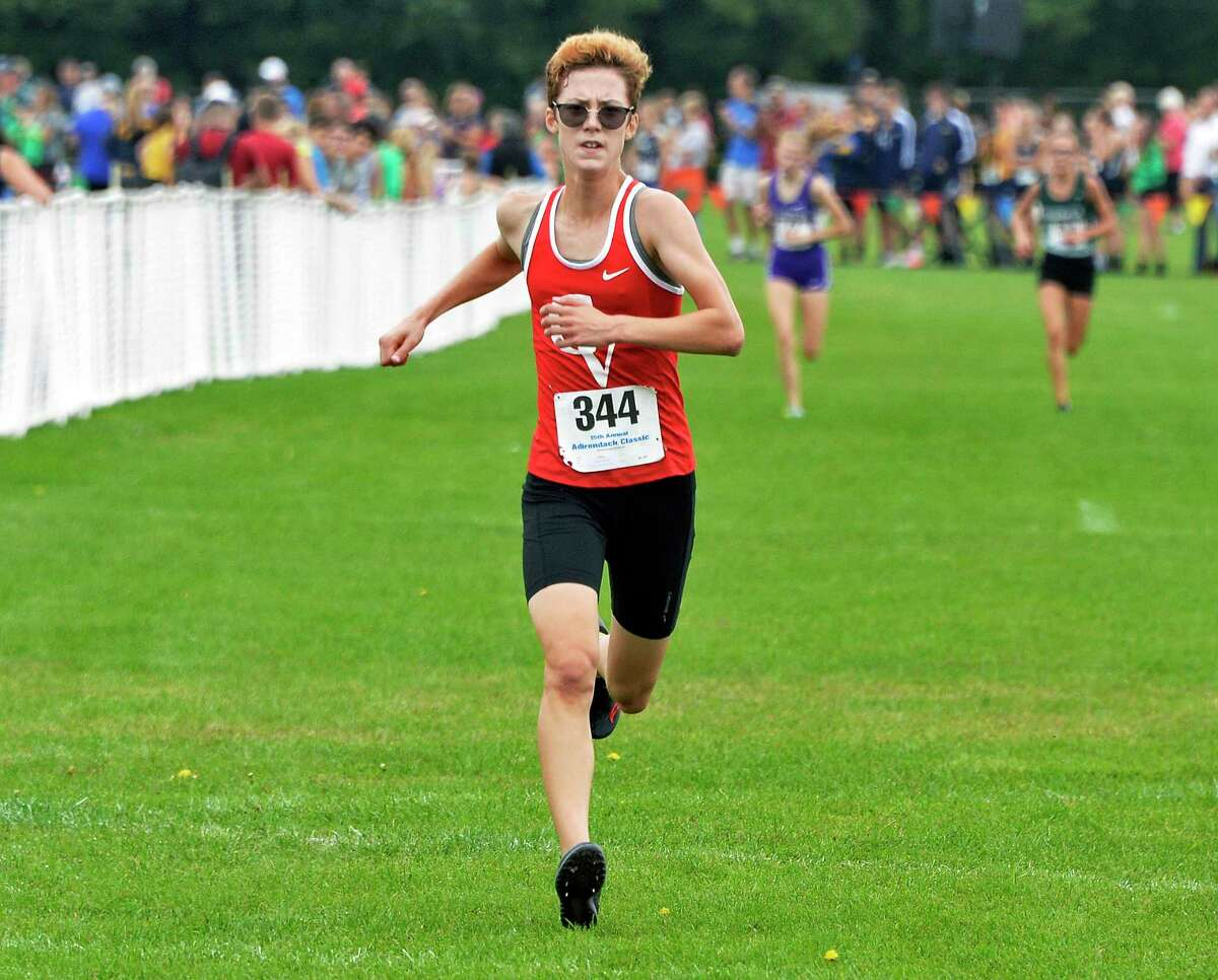 CVU runner Alice Larson wins the Division I girls race during the 15th annual Adirondack Classic Invitational Saturday Sept. 15, 2018 in Queensbury, NY. (John Carl D'Annibale/Times Union)