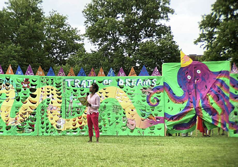 Kisha Michael checks out the Middletown Children's Circus Trail of Dreams set Photo: Contributed Photo