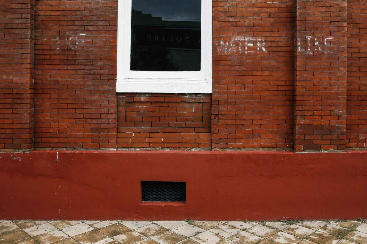 Faded writing on the side of the Galveston Arts Center shows the height of the water during Hurricane Ike Thursday Sept. 13, 2018 in Galveston ten years after the storm hit the Texas coast. The arts center returned to their original building just three years ago.