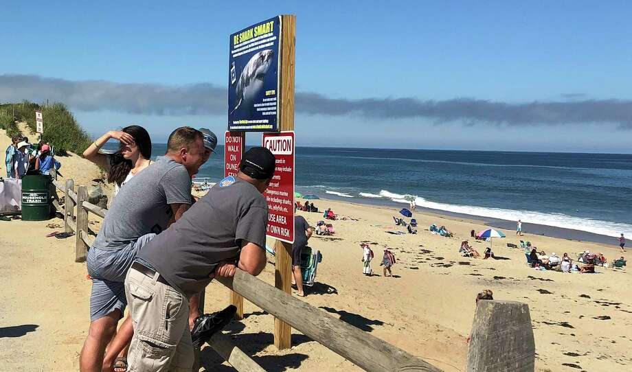People look out at the shore after a reported shark attack at Newcomb Hollow Beach in Wellfleet, Mass, on Saturday, Sept. 15, 2018. A man boogie boarding off the Cape Cod beach was attacked by a shark on Saturday and died later at a hospital, becoming the state's first shark attack fatality in more than 80 years. (AP Photo/Susan Haigh) Photo: Susan Haigh / Copyright 2018 The Associated Press. All rights reserved.