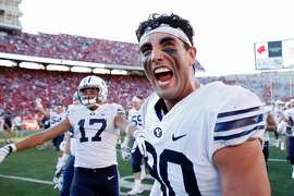 MADISON, WI - SEPTEMBER 15: Corbin Kaufusi #90 of the BYU Cougars celebrates after the game against the Wisconsin Badgers at Camp Randall Stadium on September 15, 2018 in Madison, Wisconsin. BYU won 24-21. (Photo by Joe Robbins/Getty Images)