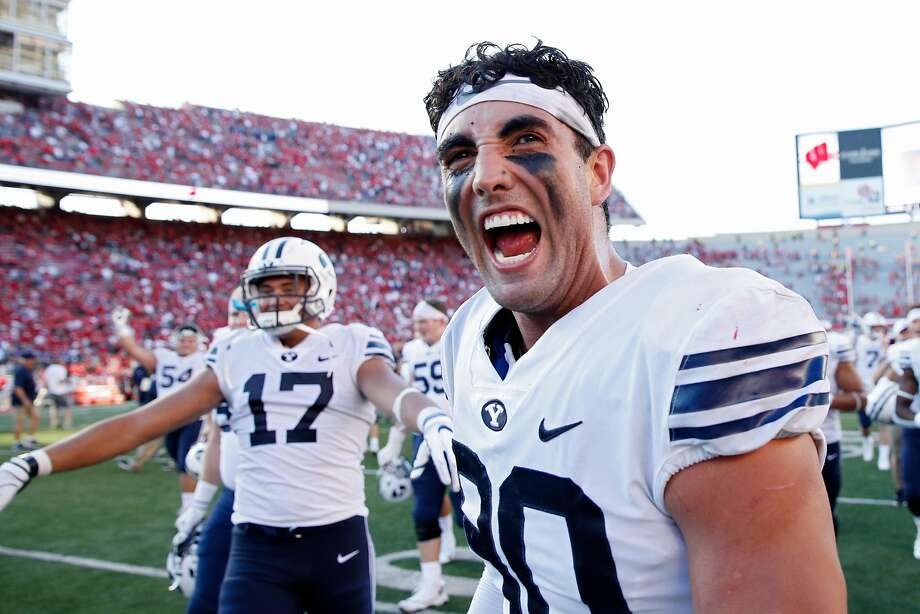 BYU's Corbin Kaufusi gets the party started after the Cougars' shocking upset at No. 6 Wisconsin. Photo: Joe Robbins / Getty Images