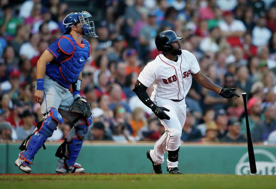 Boston Red Sox's Jackie Bradley Jr., right, watches his two-run double in front of New York Mets' Kevin Plawecki during the fifth inning of a baseball game in Boston, Saturday, Sept. 15, 2018. (AP Photo/Michael Dwyer) Photo: Michael Dwyer / Copyright 2018 The Associated Press. All rights reserved