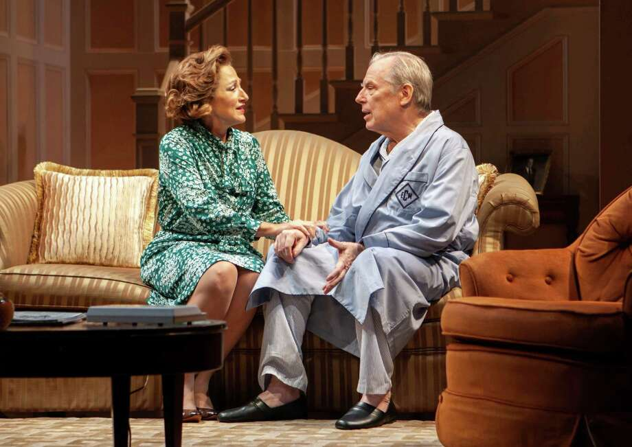 "Edie Falco played Polly Noonan and Michael McKean played Albany Mayor Erastus Corning in ""The True,"" an off-Broadway play about Corning, Noonan and Albany politics circa 1977. (Monique Carboni/The New Group)"
