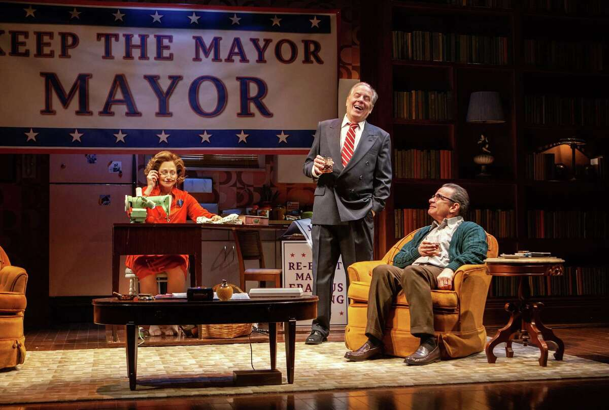 """Edie Falco, Michael McKean and Peter Scolari in """"The True,"""" a 2018 off-Broadway play about Erastus Corning, Polly Noonan and Albany politics circa 1977. A new production with a different cast will be performed at Capital Repertory Theatre in Albany in spring 2022. (Monique Carboni/The New Group)"""