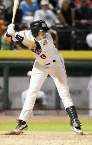 Tri-City ValleyCats catcher Michael Kvasnicka gets brushed back during an at-bat against. the Jamestown Jammers, who beat the ValleyCats 7-3 Monday night at  Bruno Stadium  in Troy. (Luanne M. Ferris / Times Union) Photo: LMF