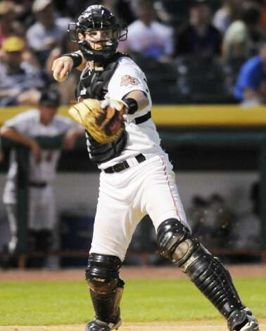 Tri-City ValleyCats catcher Michael Kvasnicka makes the throw to first base on the dropped third strike against. the Jamestown Jammers during Monday night's New York-Penn League game at Bruno Stadium in Troy.  The runner was out.  Jamestown won 7-3.  (Luanne M. Ferris / Times Union) Photo: LMF