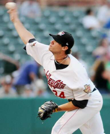 Tri-City ValleyCats pitcher Murillo Gouvea works against the Jamestown Jammers during his team's 7-3 loss Monday night at Bruno Stadium in Troy. (Luanne M. Ferris / Times Union) Photo: LMF