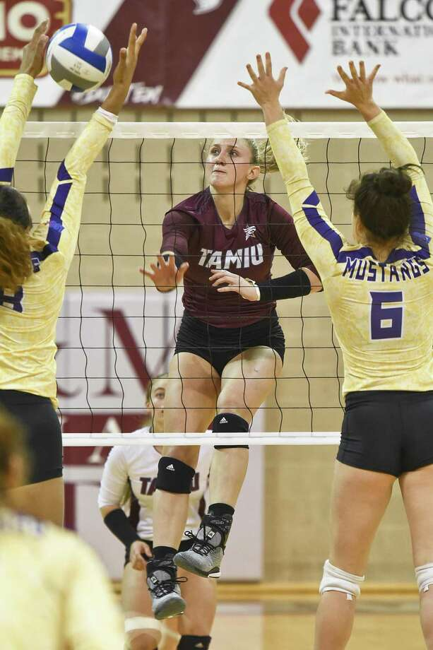 TAMIU Annie Deininger goes for the kill shot during a game against The University of Texas of the Permian Basin on Saturday, Sept. 8, 2018, at TAMIU. Photo: Danny Zaragoza /Laredo Morning Times File / Laredo Morning Times