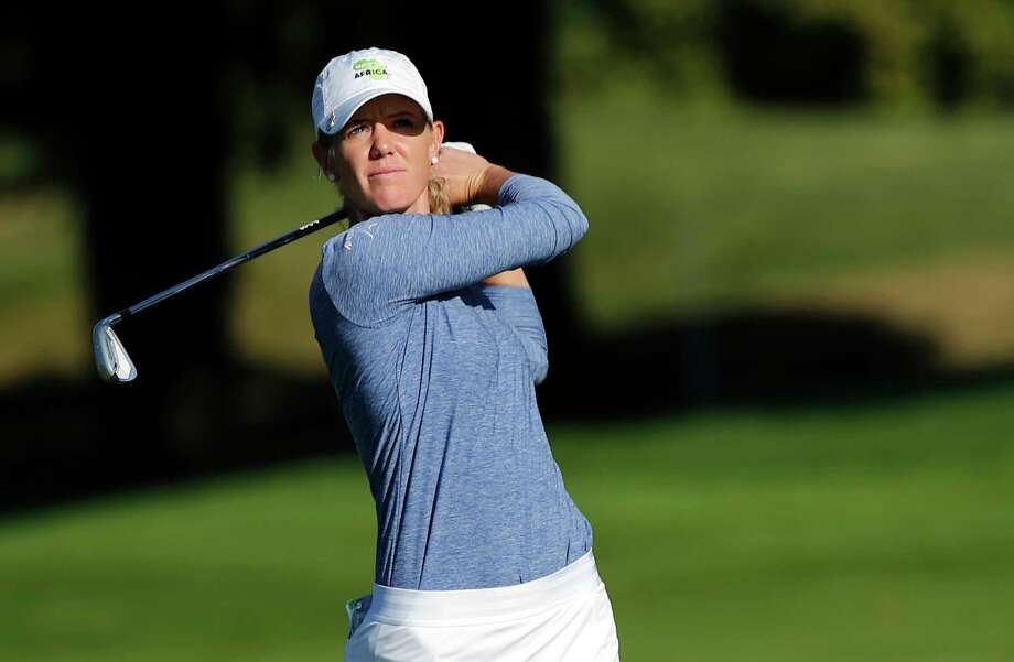 Amy Olson of the U.S. follows her shot from the fairway on the 18th hole during the third round of the Evian Championship women's golf tournament in Evian, eastern France, Saturday, Sept. 15, 2018. (AP Photo/Francois Mori) Photo: Francois Mori / Copyright 2018 The Associated Press. All rights reserved.