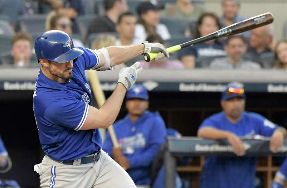 Toronto Blue Jays' Randal Grichuk hits double during the seventh inning of a baseball game against the New York Yankees Saturday, Sept. 15, 2018, at Yankee Stadium in New York. (AP Photo/Bill Kostroun) Photo: Bill Kostroun / FR51951 AP