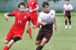 Midfielder Diego Meda controls the ball for the TAMIU Dustdevils as they played Dallas Baptist University Saturday, September 15, 2018 at the TAMIU Soccer Field.