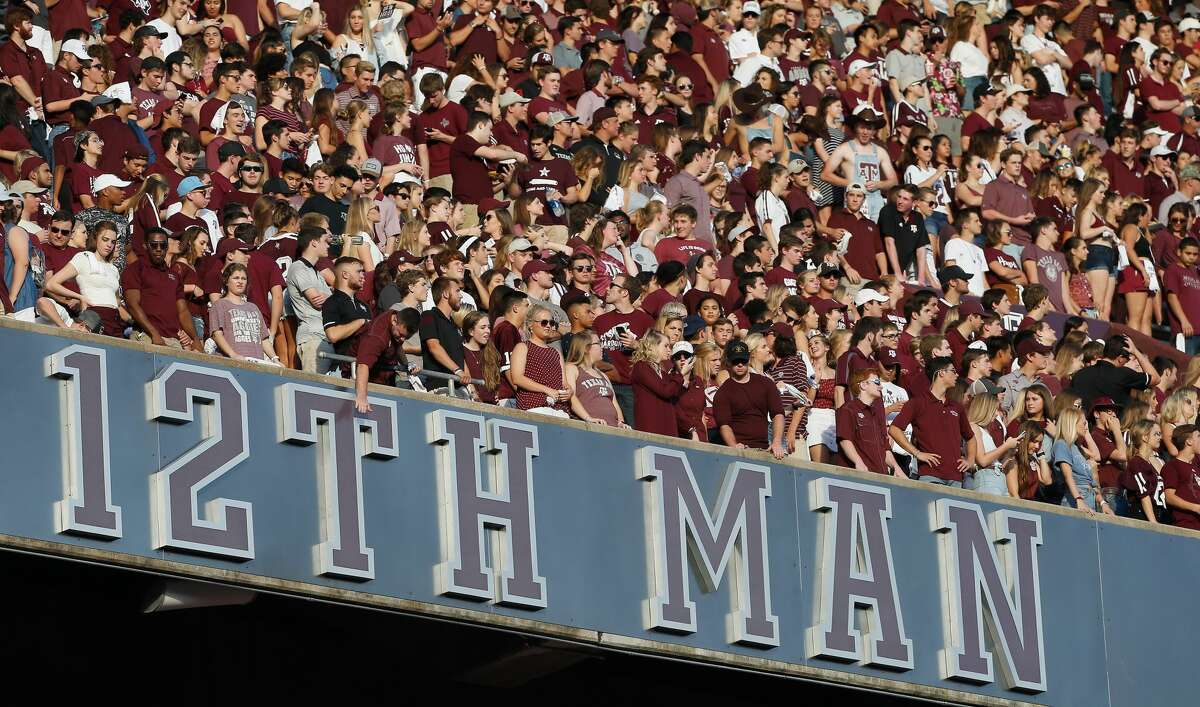 PHOTOS: Relive the Aggies' seven overtime 74-72 win over LSU last season COLLEGE STATION, TX - SEPTEMBER 15: Texas A&M Aggies fans cheer on their team against the Louisiana Monroe Warhawks at Kyle Field on September 15, 2018 in College Station, Texas. (Photo by Bob Levey/Getty Images)