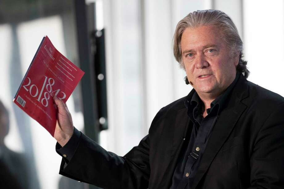 President Donald Trump's former chief strategist Steve Bannon gestures as he speaks during during an ideas festival sponsored by The Economist, Saturday, Sept. 15, 2018, in New York. Bannon said he's surprised the #MeToo movement hasn't had more impact on corporate America. (AP Photo/Mary Altaffer) Photo: Mary Altaffer / Copyright 2018 The Associated Press. All rights reserved.