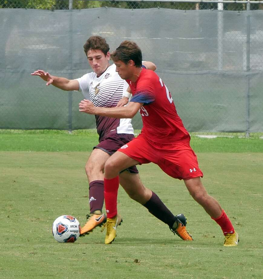 Midfielder Andres Ogaz battles for the ball for the TAMIU Dustdevils as they played Dallas Baptist University Saturday, September 15, 2018 at the TAMIU Soccer Field. Photo: Cuate Santos /Laredo Morning Times File / Laredo Morning Times