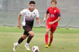 Midfielder David Martinez handles the ball for the TAMIU Dustdevils as they played Dallas Baptist University Saturday, September 15, 2018 at the TAMIU Soccer Field.