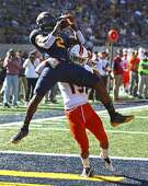 California's Jordan Duncan (2) makes a touchdown reception while being tackled by Idaho State's Koby Lowe during the first half of an NCAA college football game Saturday, Sept. 15, 2018, in Berkeley, Calif. (AP Photo/Ben Margot)