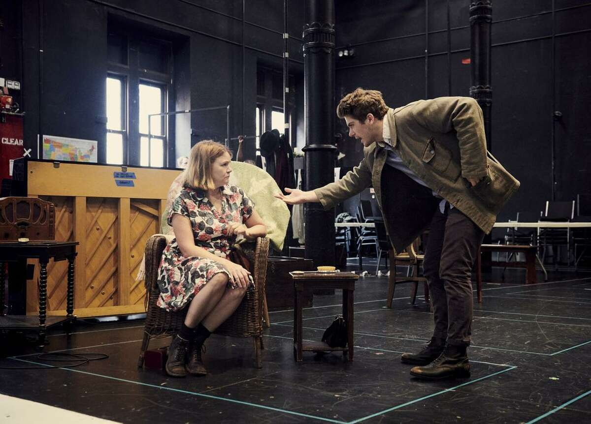 """Mare Winningham (left) and Colton Ryan rehearse """"Girl From the North Country,"""" which features 20 Dylan songs, at the Public Theater in New York."""