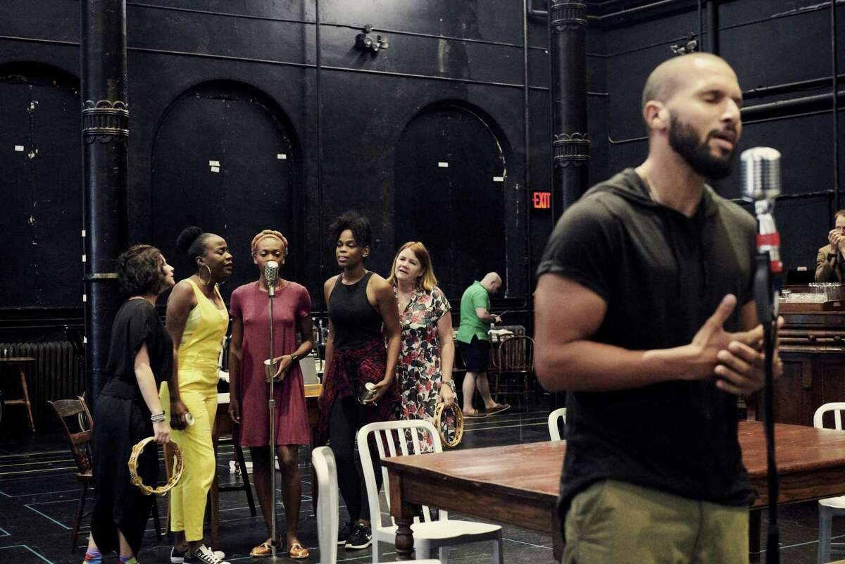 """Sydney James (right) and other cast members rehearse for """"Girl From the North Country"""" at the Public Theater in New York."""