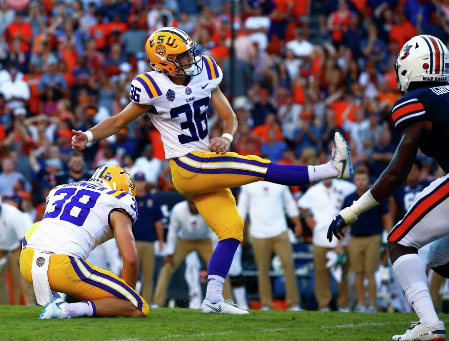 LSU place kicker Cole Tracy (36) kicks the winning field goal to defeat Auburn 22-21 during the second half of an NCAA college football game, Saturday, Sept. 15, 2018, in Auburn, Ala. (AP Photo/Butch Dill) Photo: Butch Dill / Copyright 2018 The Associated Press. All rights reserved.