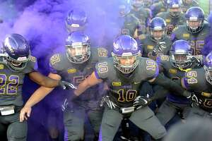 University at AlbanyOs players take the field against Morgan State during the first half of an NCAA college football game Saturday, Sept. 15, 2018, in Albany, N.Y. (Hans Pennink / Special to the Times Union)