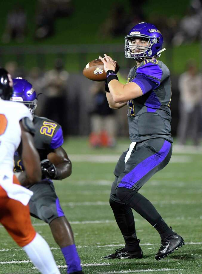 University at Albany quarterback Vincent Testaverde (14) throws a pass against Morgan State during the first half of an NCAA college football game Saturday, Sept. 15, 2018, in Albany, N.Y. (Hans Pennink / Special to the Times Union) Photo: Hans Pennink / Hans Pennink
