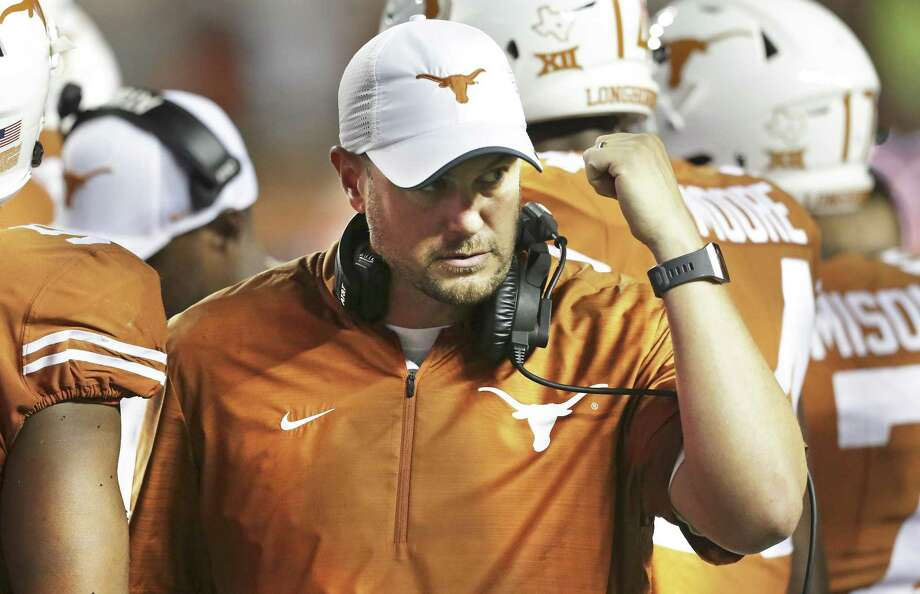 Coach Tom Herman has reminded his players that Texas hasn't won in Manhattan, Kan., in 16 years, when they were all tots. Photo: Tom Reel / Staff Photographer / 2017 SAN ANTONIO EXPRESS-NEWS