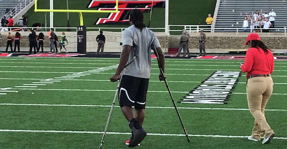 UH safety Garrett Davis after breaking his foot in a game against Texas Tech in Lubbock on Saturday, Sept. 15, 2018.