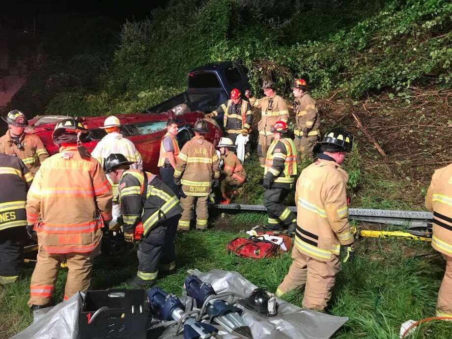 A victim was rescued through the windshield of a car after a crash on I-84 Saturday night. Photo: / Contributed Photo /Stony Hill Volunteer Fire Company Facebook