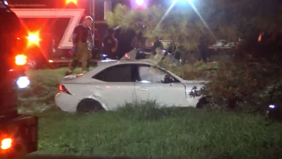 Two men died early Sunday in a high-speed wreck on Katy Road. Photo: Metro Video