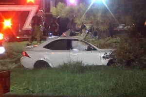 Two men died early Sunday in a high-speed wreck on Katy Road.