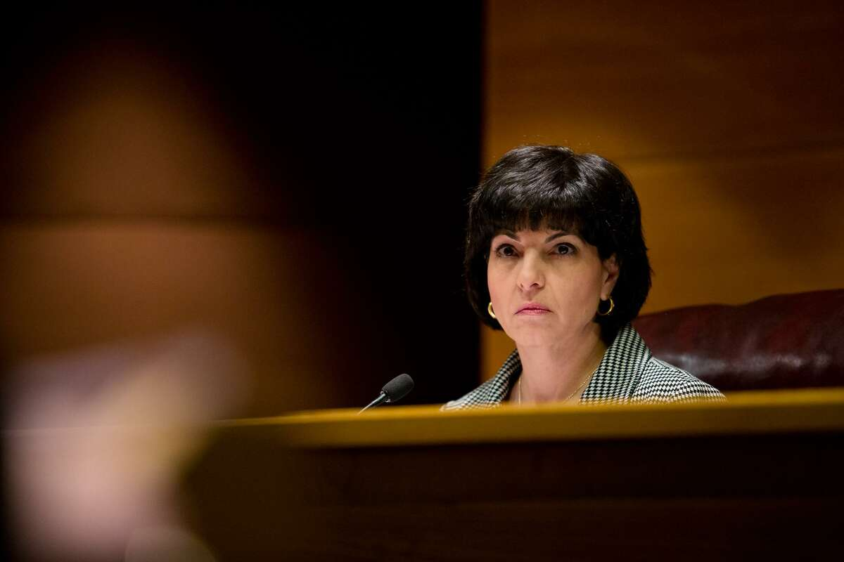 Chairman Christi Craddick is the only woman in statewide elected office. He runs the Texas Railroad Commission. Here she is listening to testimony at the bi-weekly commissioners' conference in 2017 in Austin, Texas.