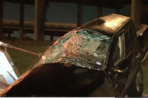 A woman survived an overnight wreck after her car veered off the Gulf Freeway.