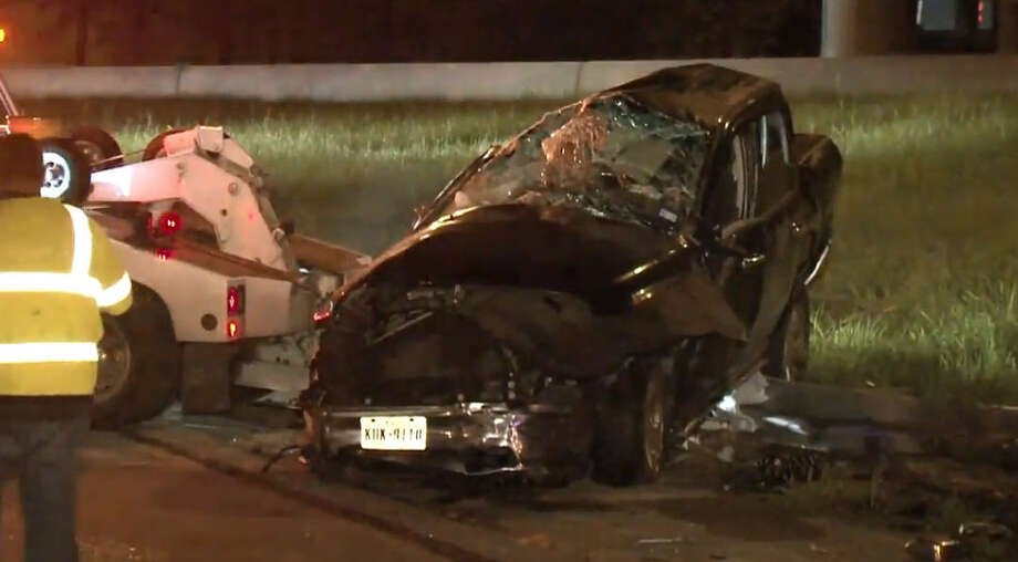 A woman survived a plunge off the Interstate 45 ramp to Loop 610 near Gulfgate around 2 a.m. Sunday. Photo: Metro Video