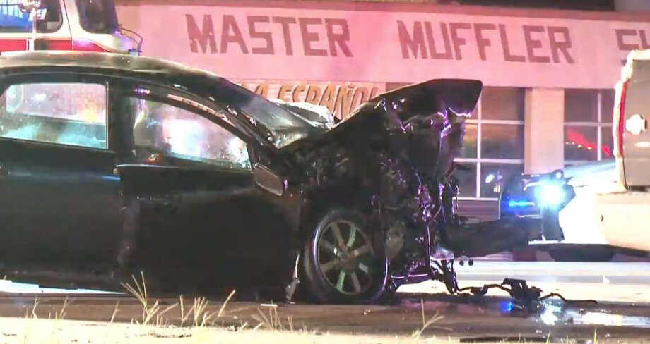Two drivers died in a crash late Saturday in northwestern Harris County. Photo: Metro Video