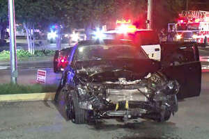 One person was hospitalized after a three-car wreck near Clay and Gessner early Sunday.