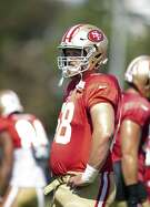 San Francisco 49ers offensive lineman Mike Person takes a breather between drills with the team at the its training camp, Wednesday, Aug. 1, 2018 in Santa Clara, Calif.