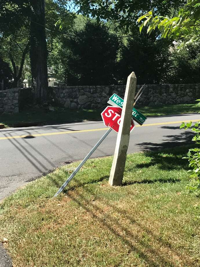 A photo from a parent of the intersection of Westover Road and Emery Drive East in Stamford, Conn. from when a school bus hit the stop sign around Sept. 4, 2018 Photo: Contributed Photo / Contributed Photo / Stamford Advocate contributed