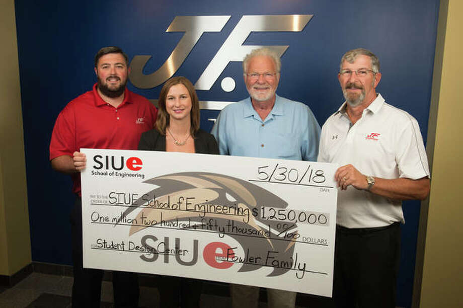 The Fowler Family has presented the SIUE School of Engineering with $1.25 million for the completion of the Fowler Student Design Center. Pictured are, from left, Jonathan, Mandy, Jim and Greg Fowler. Photo: For The Telegraph