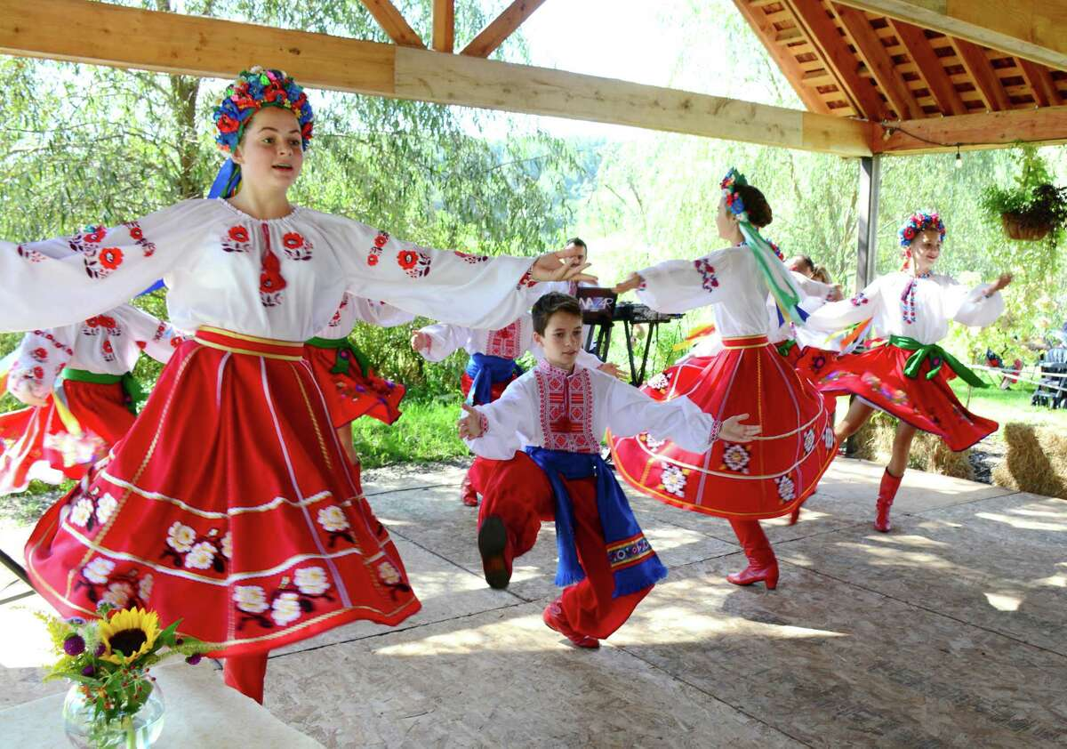 Different levels of dance students from the Kalunonka Dance Troop, from Stamford, perform during the 43rd Annual Ukranian Festival was held on Sunday September 16, 2016 at Paproski Castle Hill Farm and Pumpin Patch in Newtown.