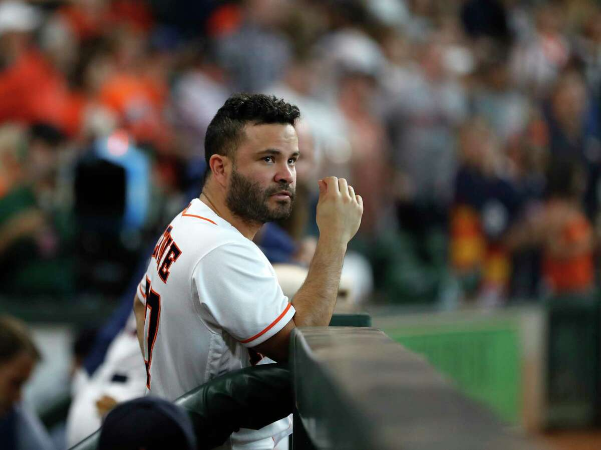 Houston Astros Jose Altuve (27) at the top of the dugout during the sixth inning of an MLB game at Minute Maid Park, Sunday, September 16, 2018, in Houston.