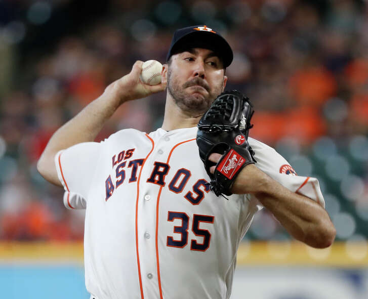 Houston Astros starting pitcher Justin Verlander (35) pitches during the first inning of an MLB game at Minute Maid Park, Sunday, September 16, 2018, in Houston.