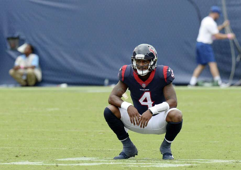 Houston Texans quarterback Deshaun Watson pauses on the field after time ran out in the fourth quarter and the Texans' final drive ended in an NFL football game against the Tennessee Titans Sunday, Sept. 16, 2018, in Nashville, Tenn. The Titans won 20-17. (AP Photo/Mark Zaleski) Photo: Mark Zaleski, FRE / Associated Press / Copyright 2018 The Associated Press. All rights reserved