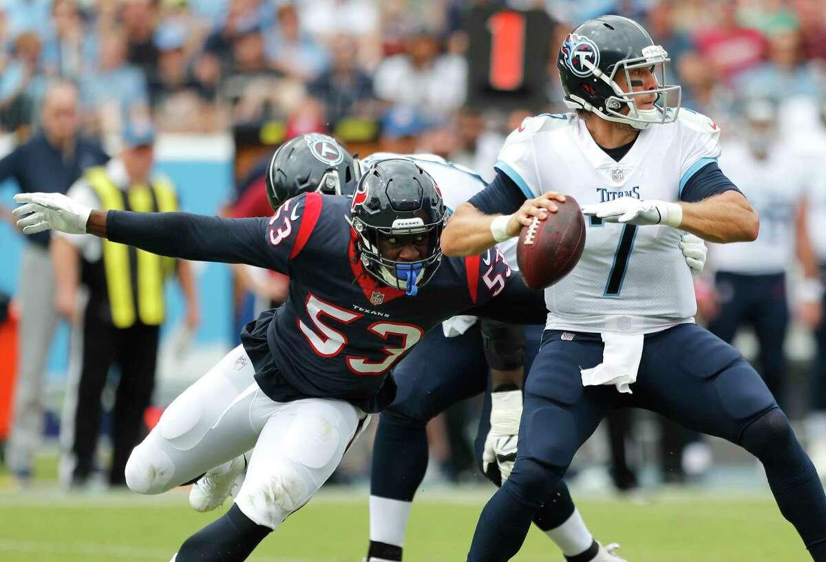 PHOTOS: Former Houston high school stars currently in the NFL Houston Texans linebacker Duke Ejiofor (53) pressures Tennessee Titans quarterback Blaine Gabbert (7) during the second quarter of an NFL football game at Nissan Stadium on Sunday, Sept. 16, 2018, in Nashville.