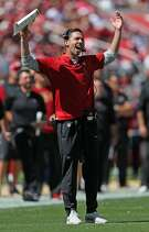 San Francisco 49ers' head coach Kyle Shanahan reacts in 2nd quarter against Detroit Lions during NFL game at Levi's Stadium in Santa Clara, Calif. on Sunday, September 16, 2018.